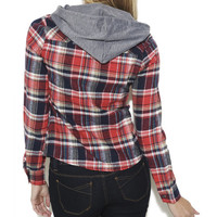 Flannel Shirt With Hood - WetSeal