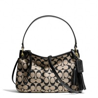 LEGACY DOUBLE GUSSET CROSSBODY IN PRINTED SIGNATURE FABRIC