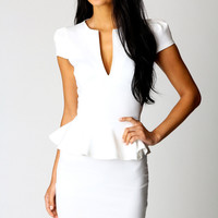 Lorna Slit Front Peplum Dress