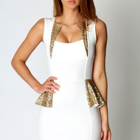 Hayley Sequin Trim Detail Peplum Dress