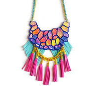 Neon Galaxy Statement Necklace, Hexagon Fringe Leather Tassel Jewelry | Boo and Boo Factory - Handmade Leather Jewelry