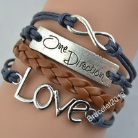 "Bracelets,bracelet,Love bracelet,""One direction"" bracelet,infinity bracelet,leather bracelet,hipster jewelry,couples bracelet,brown braided"