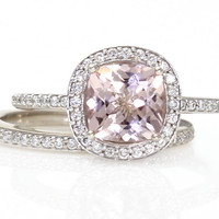 14K Cushion Morganite Engagement Ring & Wedding Band Cushion Diamond Halo Morganite Ring Custom Bridal Jewelry