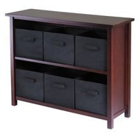 2 Shelf Verona Storage with 6 Baskets - Walnut/Black