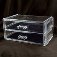 """2 Drawer Acrylic Jewelry and Cosmetic Storage Display Box 7 1/4""""w X 4""""d X 3 1/2""""h . Inner compartment size : 6 3/8""""W x 3 1/2""""Dx 1 1/4""""H"""