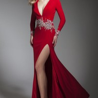 Embellished V neckline Gown by Tony Bowls Collections