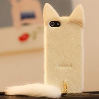 Cute Plush Cat Phone Case For iPhone
