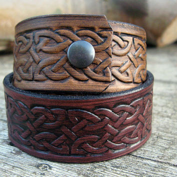 Real leather wrist cuff, celtic knot design, antiqued finish, knotwork, tan, mahogony, handmade, traditional, real leather, mens, womens