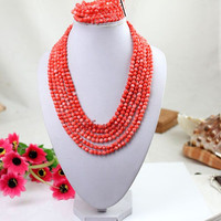 coral set jewelry 17-23 inches 4-5mm pink coral necklace Free Shipping