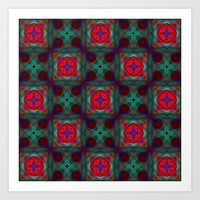 Abstract Fractal Retro Pattern Art Print by Hippy Gift Shop