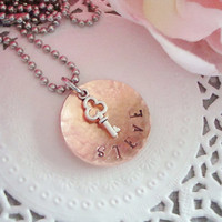 Hammered And Domed Copper Hand Stamped Necklace With Key Charm