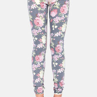Others Follow Kaegen Washed Floral Print Skinny Jeans