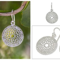 Fair Trade Floral Sterling Silver Dangle Earrings - Dahlia Splendor | NOVICA