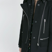 COAT WITH ZIPS AND HOOD