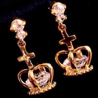 Dangling Crowns Rhinestone Fashion Earrings