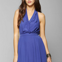 Pins And Needles Silky Surplice Halter Dress - Urban Outfitters