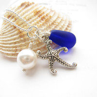 Royal Blue seaglass necklace with swarovski pearl & starfish - Perfect nautical gift for sisters, girlfriends, BFFs - FREE SHIPPING