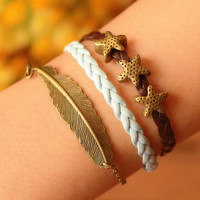 starfish bracelet,feather bracelet,retro bronze feather with starfish bead,leather braid bracelet