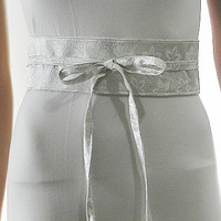 White Sash Belt Obi Waist Cincher - White Silver Brocade Sash Belt Obi Waist Cincher - Sashes for Weddings Evening Cocktail Formal Party