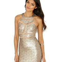 Missguided - Leah Sequin Mesh Panelled Mini Dress In Gold
