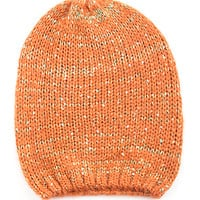 Orange Sequined Colored Beanie