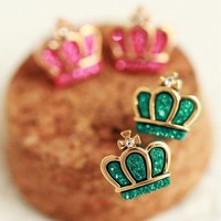 Colorful Crystal Crown Earrings