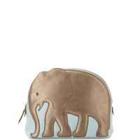 Elephant Medium Leather Pouch, Light Blue