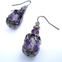 Purple earrings gunmetal with grape violet glass beads