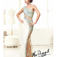 (PRE-ORDER) Mac Duggal 2014 Prom Dresses - Aqua & White Jersey One Shoulder Prom Dress