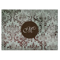 Aqua Chocolate Vintage Damask Monogram Board