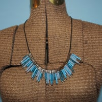 Blue Beaded Safety Pin Necklace on a Leather String - 22 Inches
