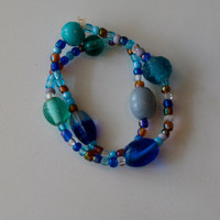 Assorted Blue and Brown Glass Beaded Double Wrap Around Bracelet - 12.5 Inches