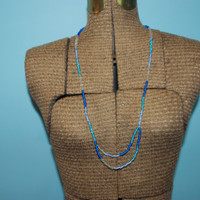 Varied Blue Beaded Necklace with Design - 30 Inches