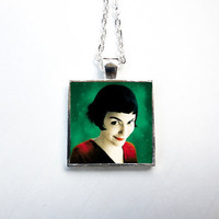 Amelie Square Pendant Necklace - Movie Necklace, Cinema, Film, Woman, Quirky, Whimsical, Girl