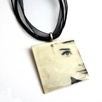 Audrey Hepburn Necklace, Photo Transfer Necklace, Altered Art Photo Transfer Pendant - Hepburn Half Face, Funny Face, Breakfast at Tiffanys