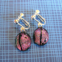 Dichroic Clip Earrings, Pink Clipons, Fused Glass Jewelry, Clip On Jewelry - Berry - 1927 -1