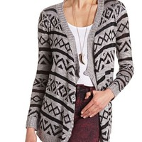 DRAPED AZTEC SLUB CARDIGAN