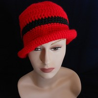 Hand Crocheted Ranch Red Hat