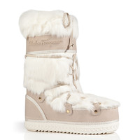 Salvatore Ferragamo - Rabbit Fur/Suede Rembrandt Boots in Porcelain