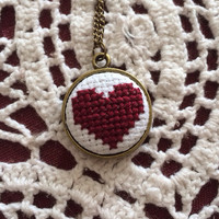Burgundy heart cross stitch necklace