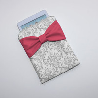iPad Mini - Kindle - Nook - eReader Case - Gray and White Damask Hot Pink Bow - Padded