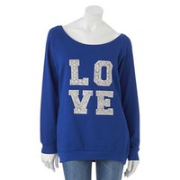 Electric Pink Fleece Lace Love Tunic Sweatshirt - Juniors