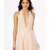 Missguided - Rika Sequin Halterneck Skater Dress In Nude