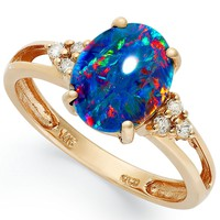 14k Rose Gold Ring, Opal Triplet and Diamond (1/10 ct. t.w.) Ring