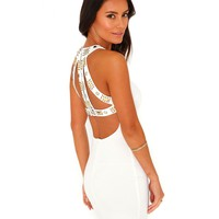 Missguided - Ivetta Embellished Cut Out Bodycon Mini Dress In White