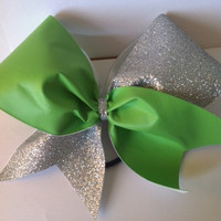 Green and Silver Glitter Cheerleading Bow