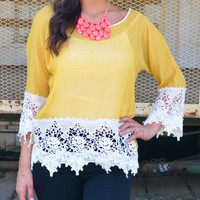Giselle Mustard Lace Trim Tunic Top