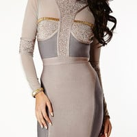 Clothing : Bandage Dresses : 'Samia' Crystal Embellished Long Sleeve Bandage Dress