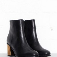 Bellagio Black Ankle Boot With Gold Heel by Opening Ceremony Shoes - Glassworks Studios