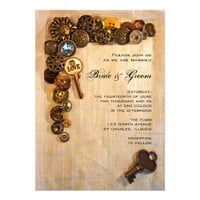 Rustic Buttons Wedding Invitation